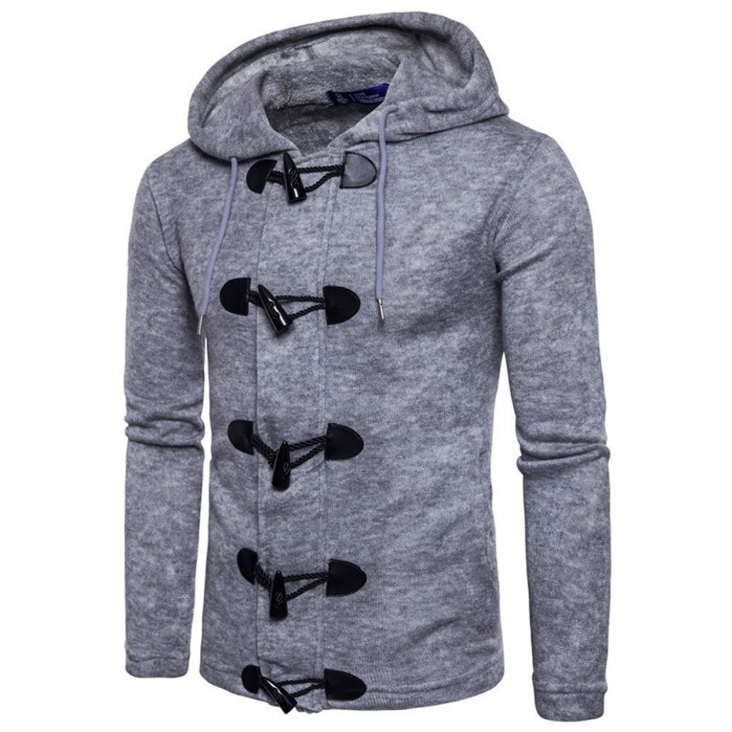 GREFER Men's Autumn Winter Coats Fashion Men Slim Designed Hooded Top Cardigan Jacket Gray by GREFER