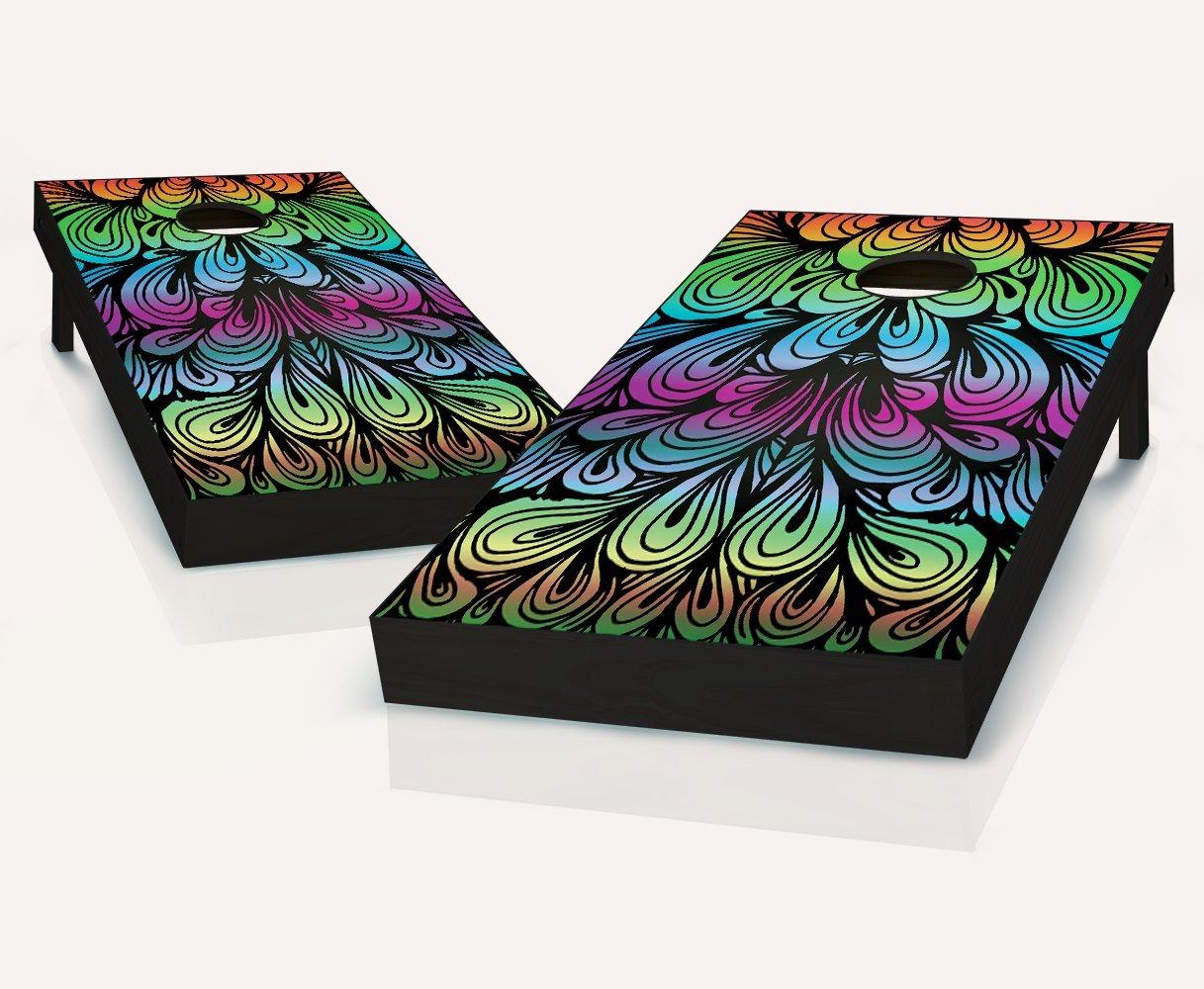 Tailgating Pros Rainbow Swirl Cornhole Boards withのセット8 Cornhole Bags B07BVZYL35