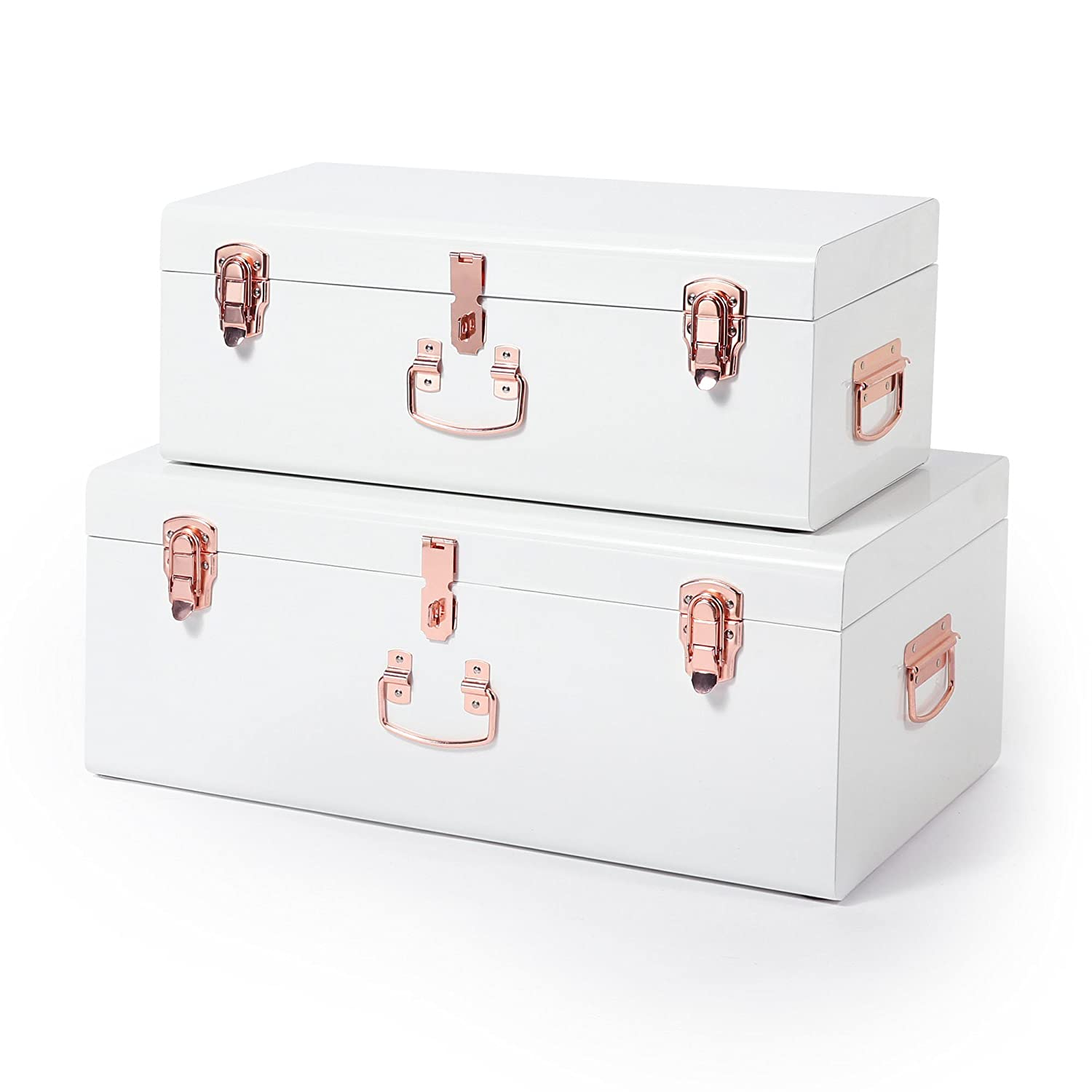 Beautify Extra Large Storage Trunks Set of 2 Chests for Bedroom, Living Room – White & Champagne Colour