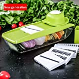 Baban Multi-function Mandoline Slicer, Adjustable Mandoline with 5 Thickness Settings Interchangeable Stainless Steel Blades + Food Container + Safety Food Holder + Cutting Board + Blade Storage Box