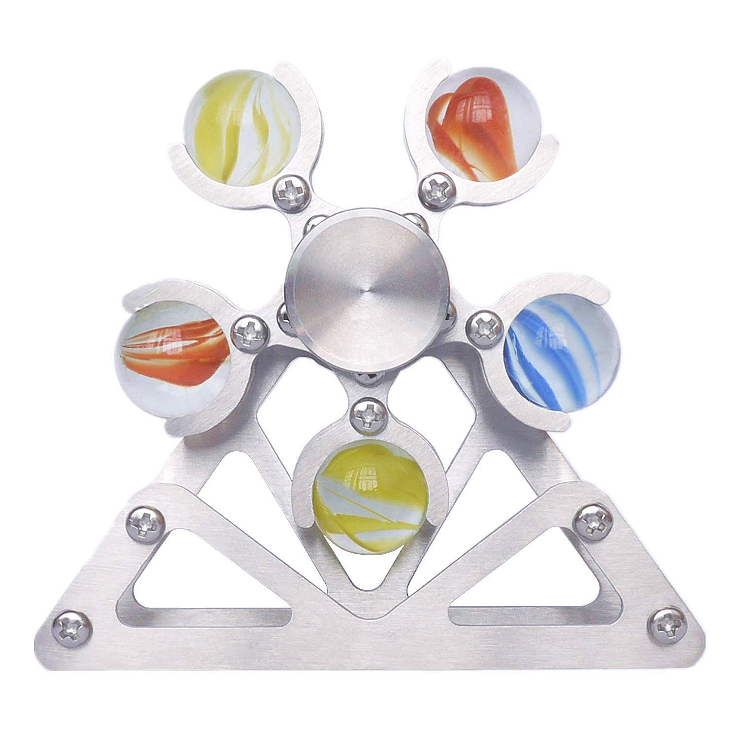 DMaos Ferris Wheel Fidget Spinner, Desk Toys Spin with Stand, Smooth Metal Stainless Steel Ceramic Stable Bearing EDC, High Speed Colorful Marble Rainbow, Premium Figit Toy for Adults Kids - 10 Balls by DMaos (Image #2)