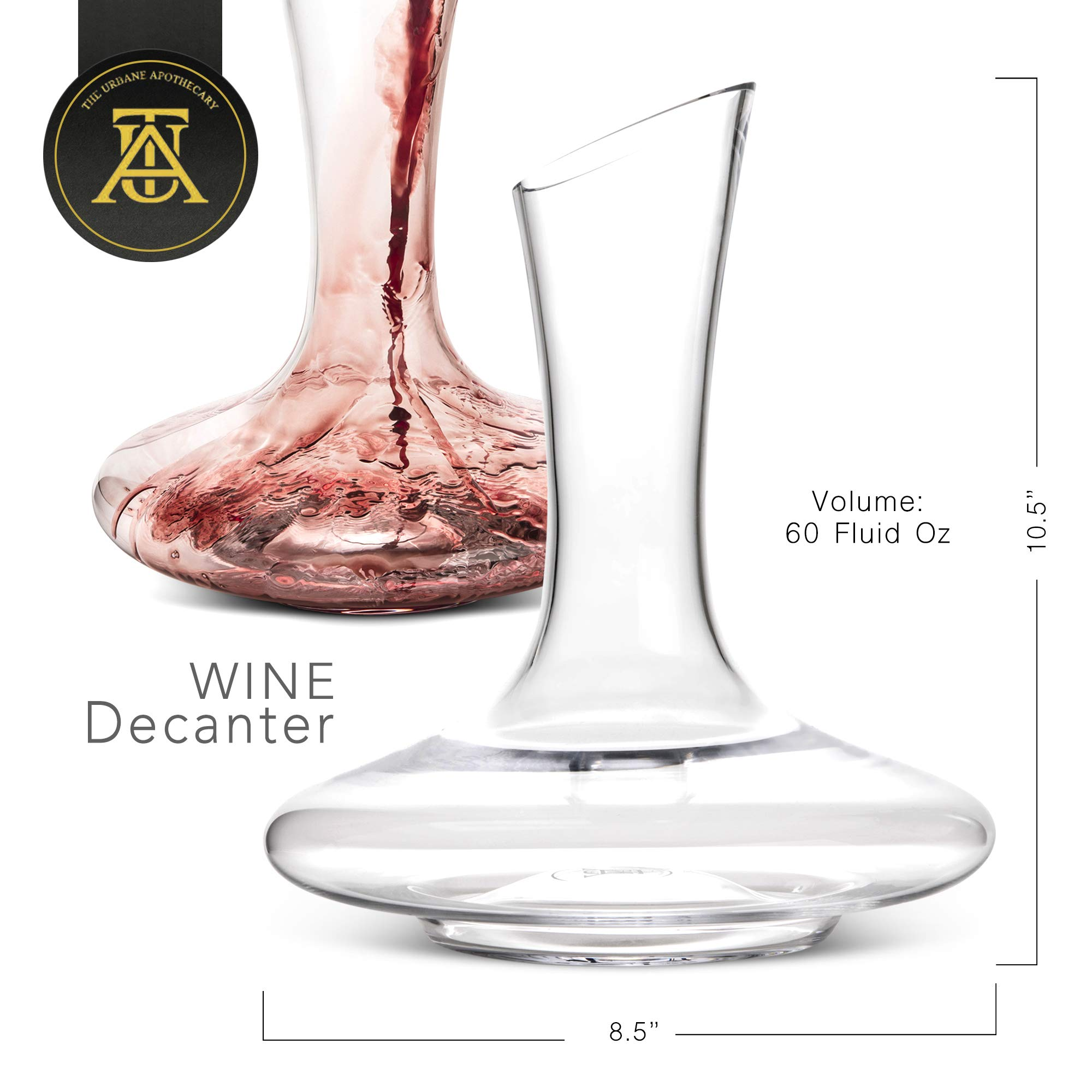 Beautiful, Crystal Wine Decanter Set, Hand Blown, 60 fluid oz - Wine Aerating Decanters with Elegant ​Black and Gold Velvet Sleeve​ - Drip-Free, Lead-Free, BPA-Free - Table Aerator Carafe by The Urbane Apothecary (Image #2)