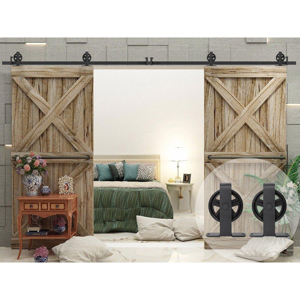 WINSOON T Shaped Style Big Spoke Wheel Sliding Barn Door Hardware Kit for Double Doors (12FT Double Door Track Kit)