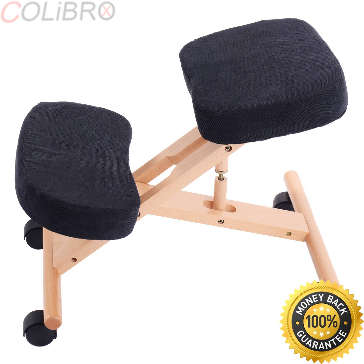 COLIBROX--Ergonomic Kneeling Chair Wooden Adjustable Mobile Padded Seat and Knee Rest New. best ergonomic kneeling chair. best kneeling chair amazon. sleekform chair. Mobile Padded Seat. by COLIBROX