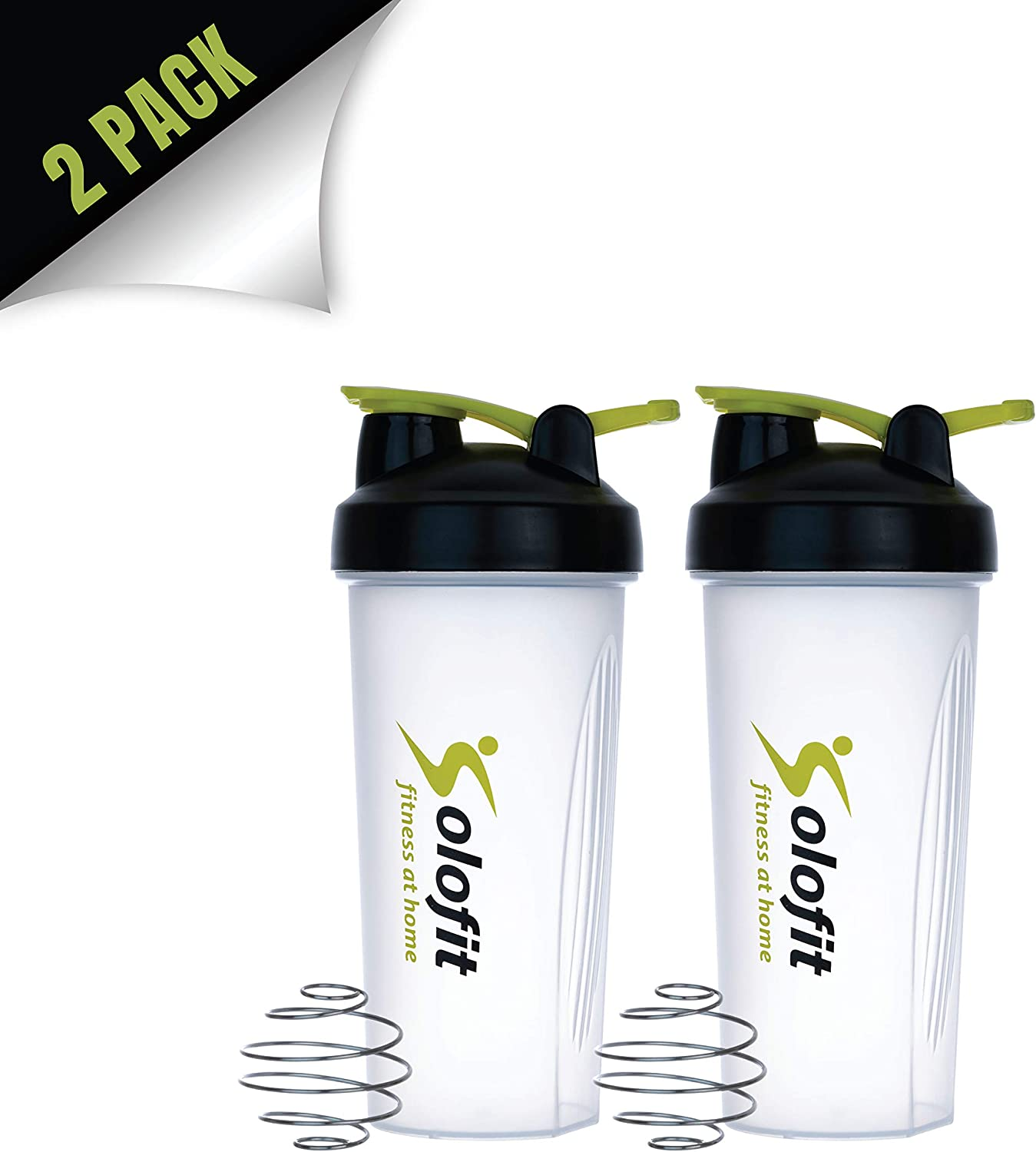 Solofit Protein Shaker Bottles with Shaker Balls– Leak Proof Smoothie & Drink Blender Bottle – Portable Supplement Mixer Cup - Ideal for Fitness Enthusiasts, Athletes- 28 Ounce (Pack of 2)