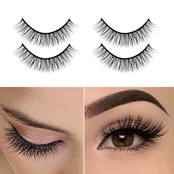 6d0128a99ee Amazon.com : 3D Mink Eyelashes, Self-Adhesive Eyelashes No Glue  Involved,Ikibity Fake Lashes Extensions Reusable for Makeup Nature, Long  and Soft-2 Pairs : ...