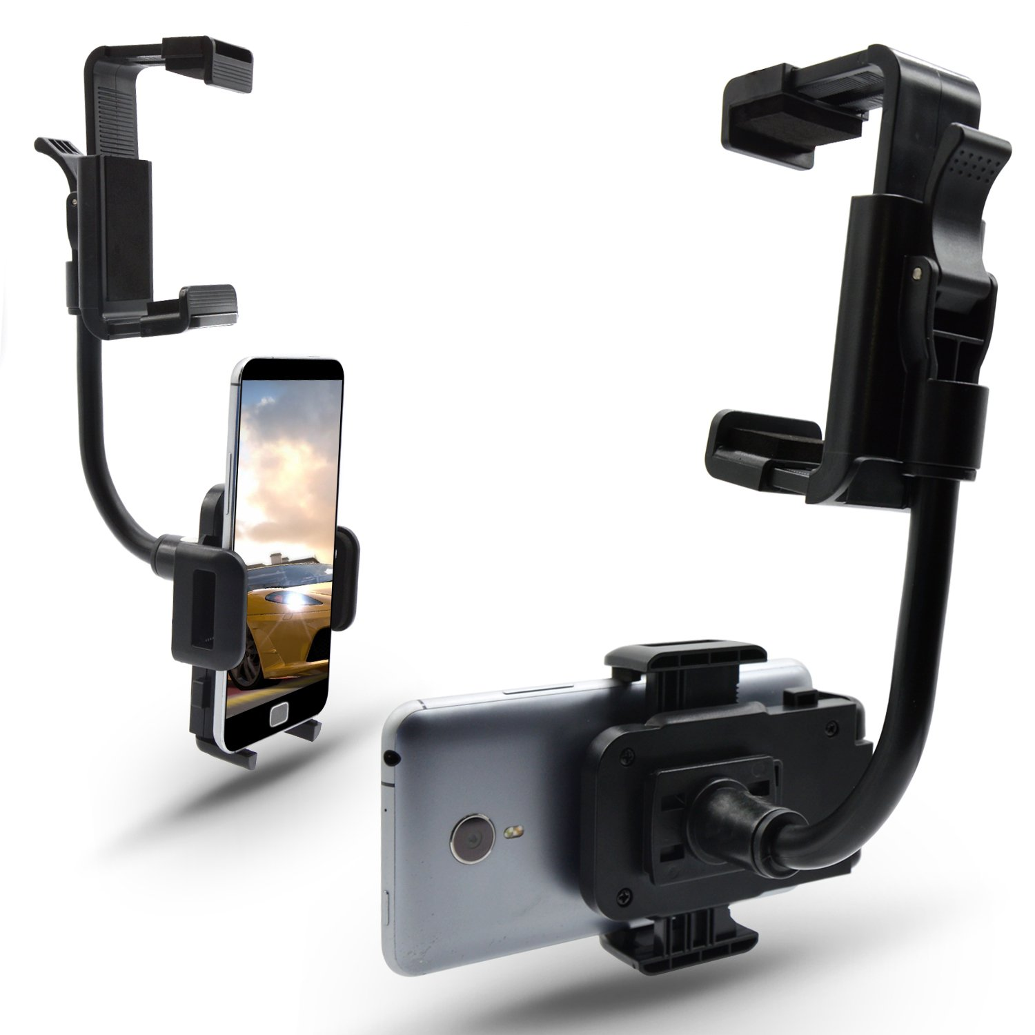 Elemart Universal Smartphone Holders Car Rear View Mirror Mount Holder Smartphone Bracket For iPhone 6s//6splus//6//6plus//5//5S Samsung Galaxy S6//S5//S4//S3 Note 4//3//2 GPS and More