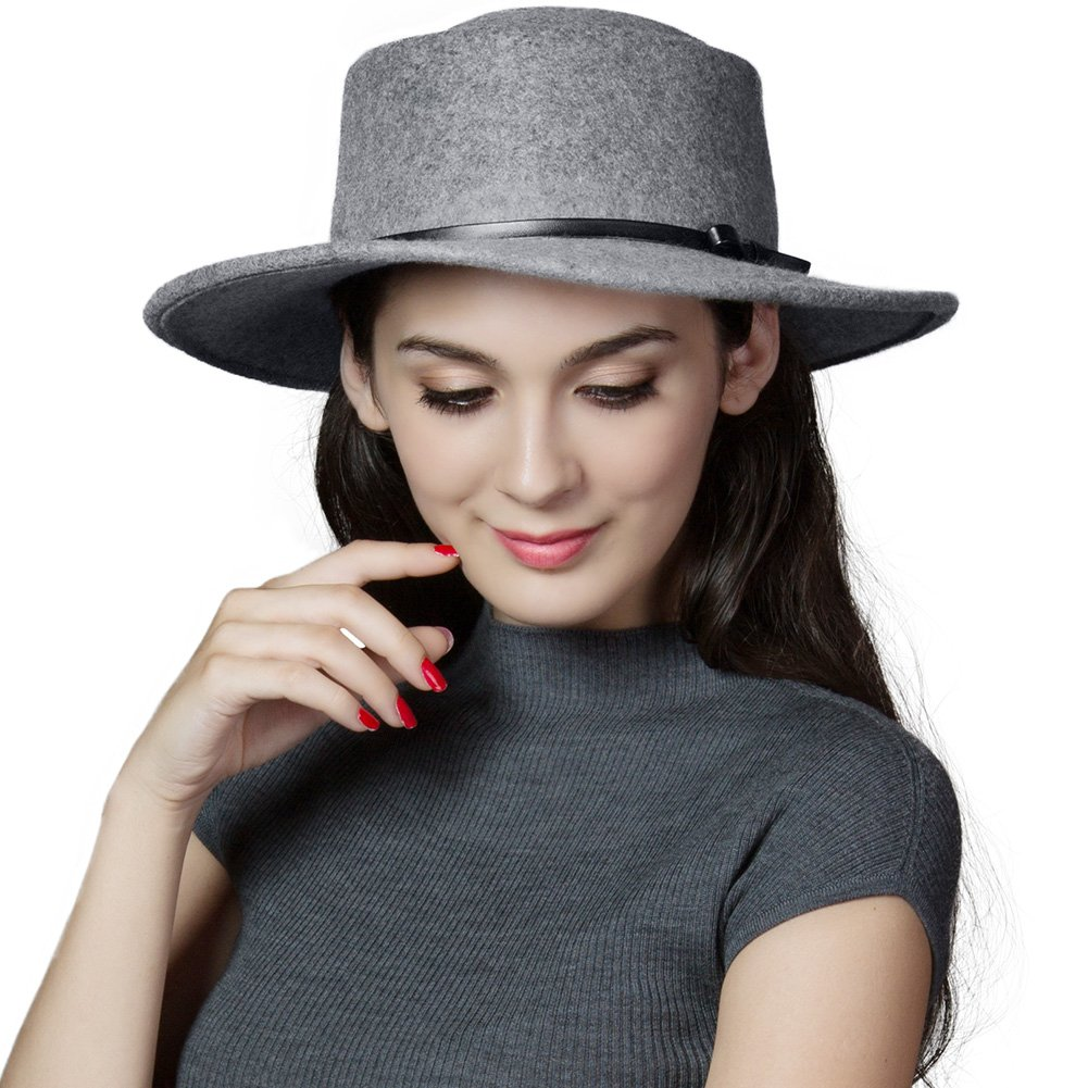 SIGGI Womens 100% Wool Felt Fedora Hat Wide Brim Classic Pork Pie Hat Colors SI88350-1