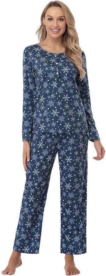 Aiboria Manga Larga Pijamas para Mujer, Algodón Pijama de 2 Piezas con Botones para Mujer Ropa de Dormi Otoño Invierno: Amazon.es: Ropa y accesorios