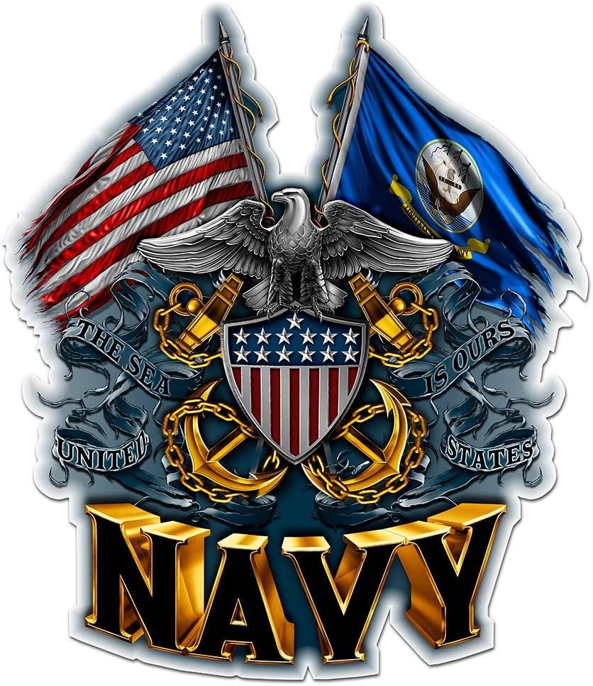 Collectible Navy Decals (4in,2pack), Share Your Appreciation and Support with Our Vinyl Double Flag Eagle Navy Shield Stickers for Your Home, Car, Cases and More, Souvenir Gifts for Navy Sailors