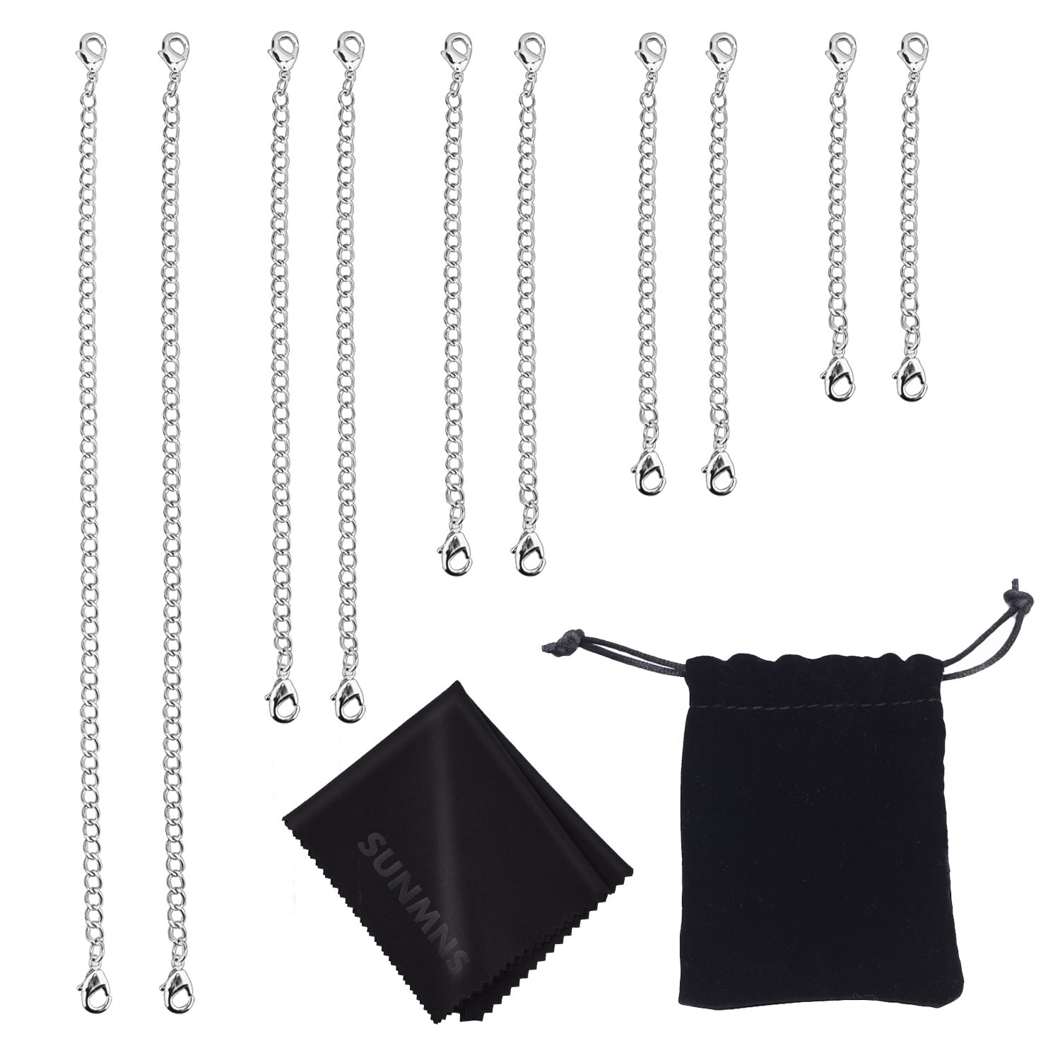 Sunmns Slender Stainless Steel Necklace Bracelet Extender Chain Set, 10 Pieces (Silvery SunmnDirect