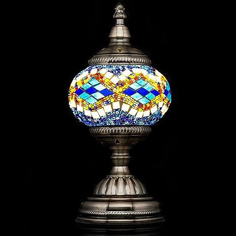 Mosaic Lamp Handmade Turkish Mosaic Table Lamp With Mosaic Lantern,Bronze  Base,Unique