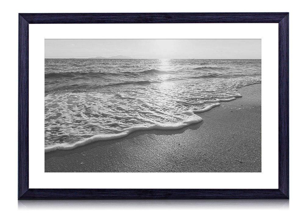 サンセット、ビーチ、海、海岸、波 木製の黒色のフォトフレーム 壁の絵 壁掛け ソファの背景絵画 壁アート写真の装飾画の壁画 白黒 海 (60cmx40cm) B074W9JZ1K