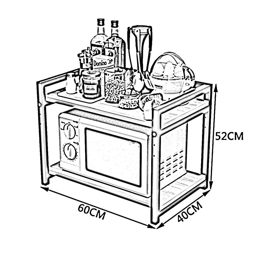 WENZHE Estantería Cocina Baldas Horno Microondas Vajilla Condimento Multifunción Clasificar Ajustable, De Madera, 6 Colores, 60 × 40 × 52cm (Color : B): ...