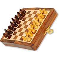 Pytho Folding Wooden Chess Set with Magnatic Board and Hand Carved Chess Pieces | Size: Small, 5 X 5Inches | Pocket…