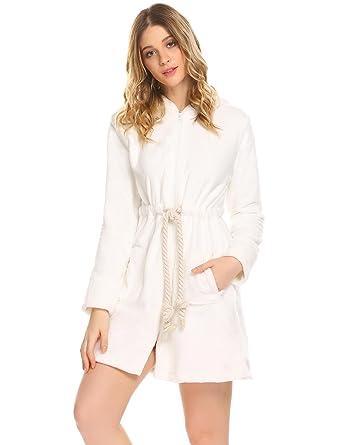 0228925525d Dickin Women s French Terry Plush Short Robe Hooded Bathrobe Sleepwear