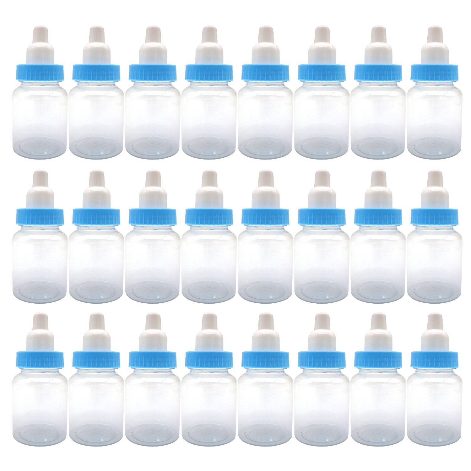3.5-Inches Baby Bottle Shower Favor,Mini plastic candy bottle,Baby shower supplies Boy girl newborn baby baptism birthday party decor,blue(Pack of 24)