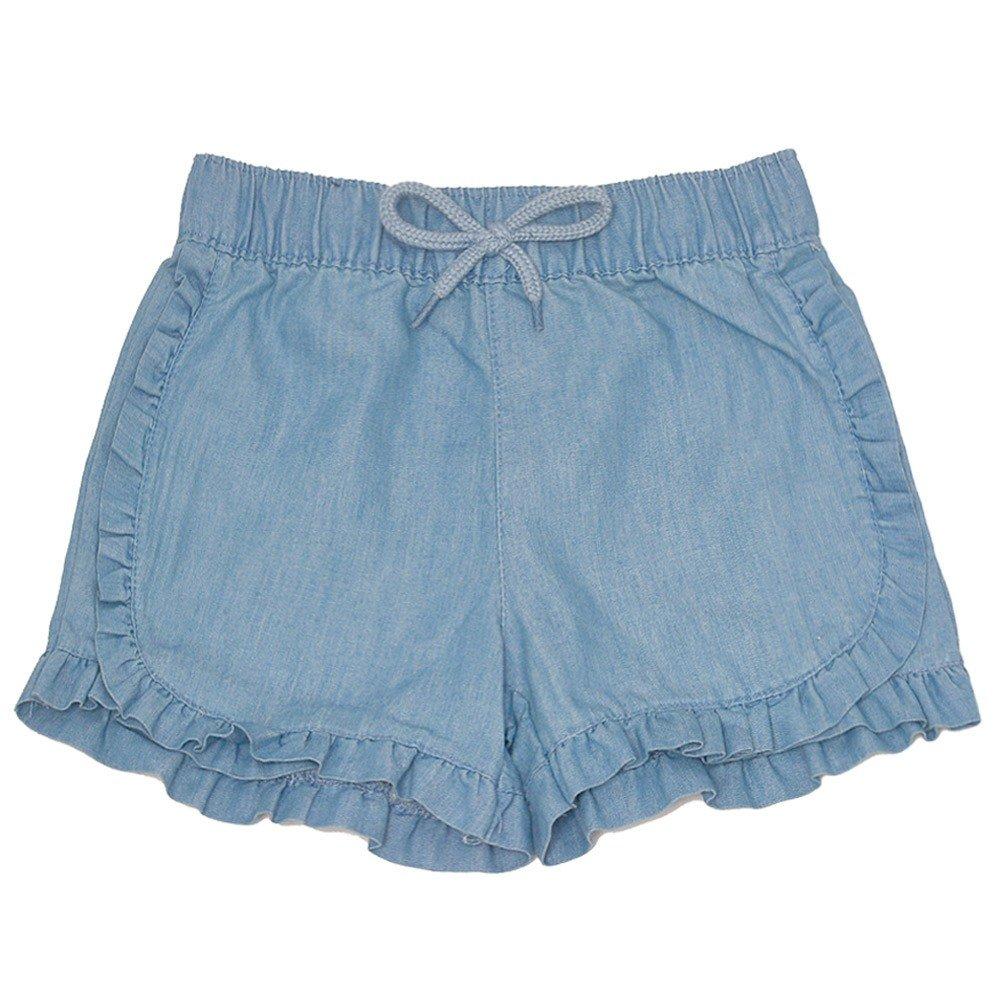 dELiA's girl Big Girls Blue Ruffle Trim Stretchy Waist Tie Trendy Summer Shorts 7-8