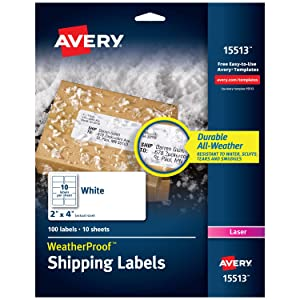 "Avery WeatherProof Mailing Labels with TrueBlock Technology for Laser Printers 2"" x 4"", Pack of 100 (15513), White"