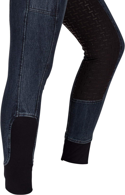 RidersDeal Collection Jeansreithose mit Silikonvollbesatz und Handytasche f/ür Damen 36 Gr