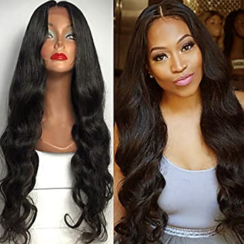 Amazon Com Beautygal Long Body Wave Lace Front Wigs Middle Part
