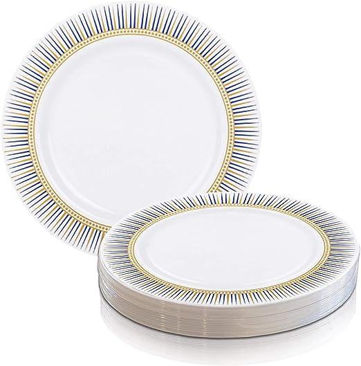 Party Disposable Plastic Plates Wedding Dinner Salad Plate Vibrant Square 120pcs