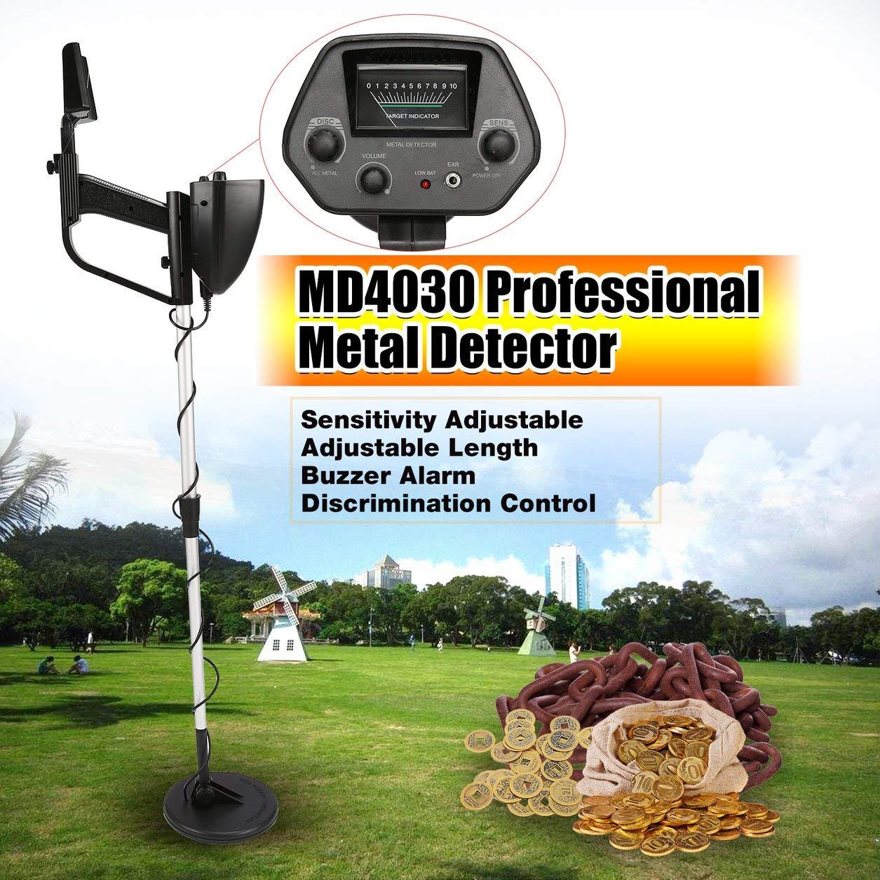 Dailyinshop Detector de Metales subterráneo portátil portátil MD4030 Cazador de Tesoros portátil Buscador de Oro Longitud Ajustable (Color: Negro y Plata)