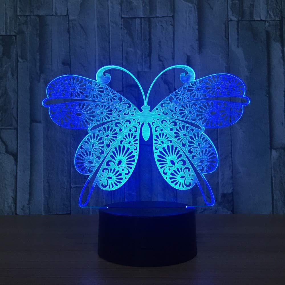 3D-Lampen, Schmetterling, 7 Farben, Touch FernbedienungSchalter, Geburtstagsgeschenk-Babyleuchte, Acrylflach- & USB-Kabel & AA-Batterie