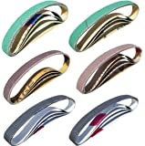 "24 Pcs Knife Sharpener Sanding Belts 1/2"" x 12"" Replacement Belt Kit - 4 each of 80/120/240/400/1000/1200 Grits…"