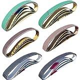 "24 Pcs Knife Sharpener Sanding Belts 1/2"" x 12"" Replacement Belt Kit - 4 each of 80/120/240/400/1000/1200 Grits - Compatible"