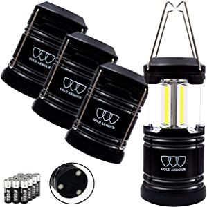 Gold Armour 4 Pack Portable LED Camping Lantern Flashlight with Magnetic Base - Emits 500 Lumens - Survival Kit Gear for Emergency, Hurricane, Power Outage with 12 aa Batteries