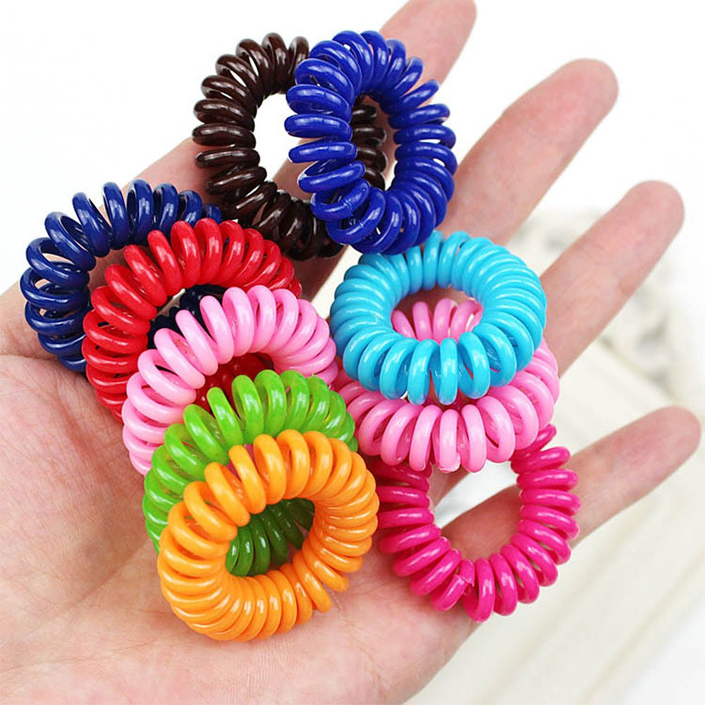 Plastic Coil Hair Ties Mixcolor Elastic Spiral Traceless Hair Ties Ponytail Holder Hair Accessories for Kid Women 20pcs/Set Pro-Noke