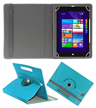 Acm Rotating 360 deg; Leather Flip Case for Notion Ink Cain 10 Tablet Cover Stand Greenish Blue Tablet Accessories