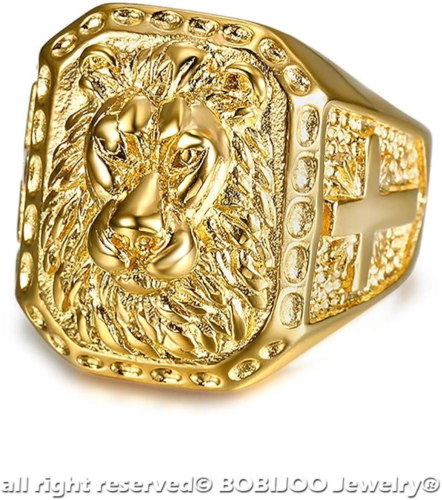 Grosse Chevali/ère Bague Homme T/ête de Lion Acier INOX Plaqu/é Or Croix Voyageur BOBIJOO Jewelry