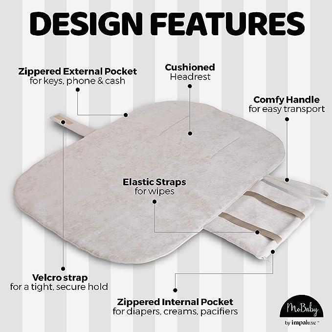 Tapis /à langer portable MoBaby tapis /à langer molletonn/é pour b/éb/é et nouveau-n/é lavable en machine coloris Caf/é pochette /à langer aussi douce que le daim