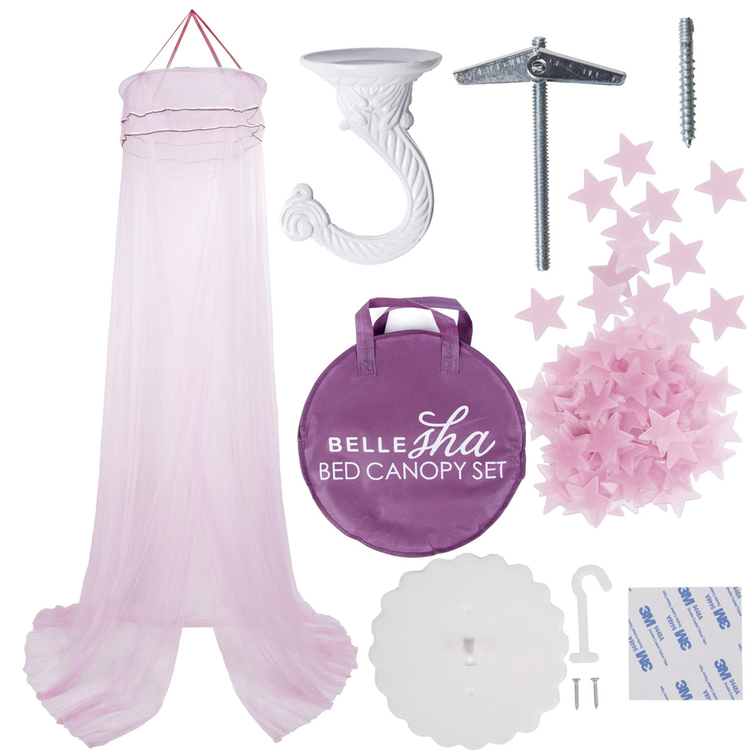 Girls Bed Canopy [Pink] with Glowing Pink Ceiling / Wall Stars - Princess Combo Pack!