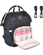 Diaper Bag Backpack Multi-Function Waterproof Travel Baby Nappy Bag Large Capacity Stylish Durable Changing Backpack with Stroller Hooks Insulated Pocket for Baby Care - Black