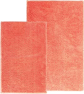 Comfy Soft Microfiber Bath Mat Rug, Non Slip Bathroom Mats Rugs with Soft & Absorbent Shag, Machine Washable, Shaggy Rug for Bathroom, Set of 2, Coral Pink, 31x20 and 24x16 Inch