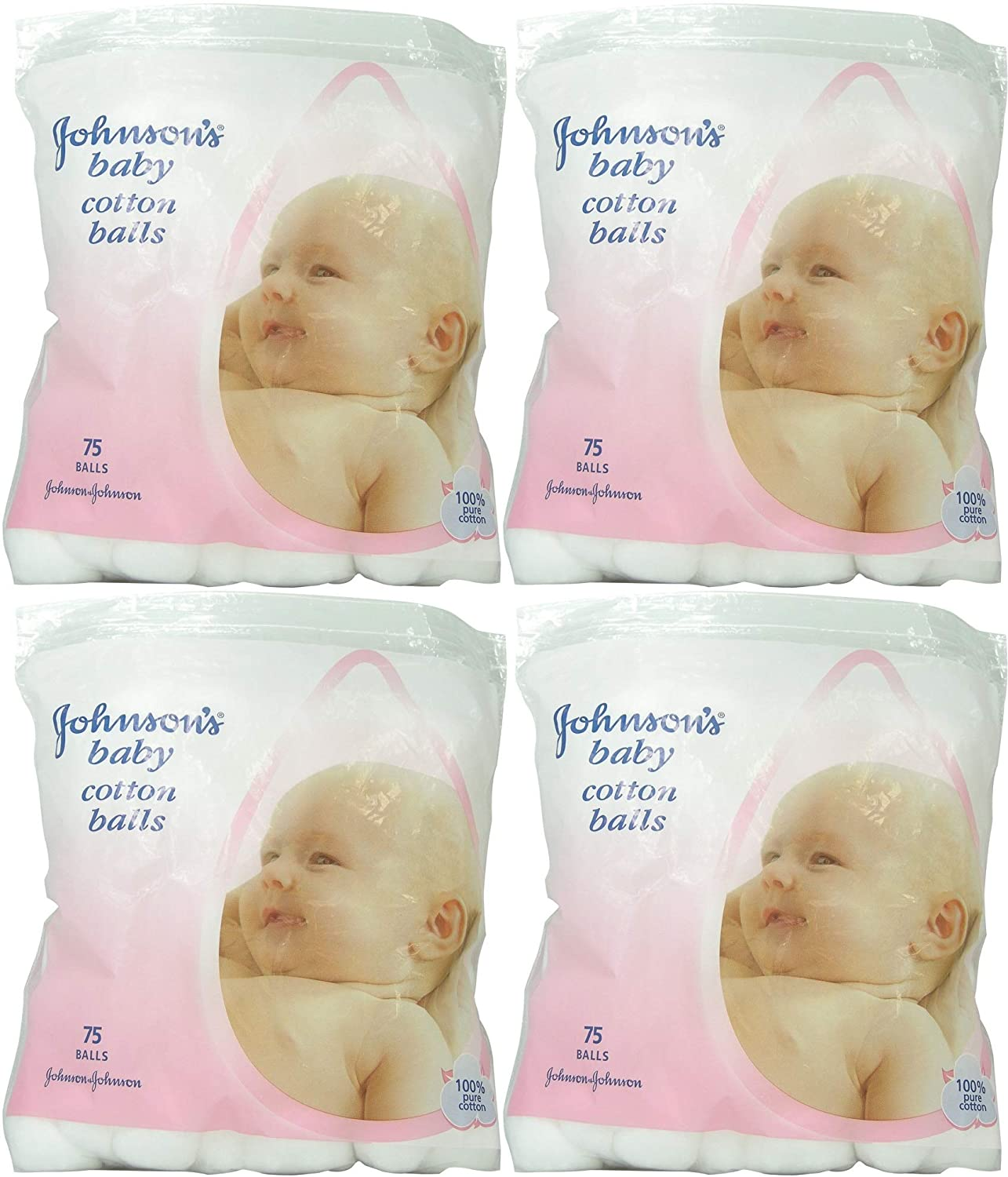 Johnson's baby cotton balls 75pack - Pack of 4