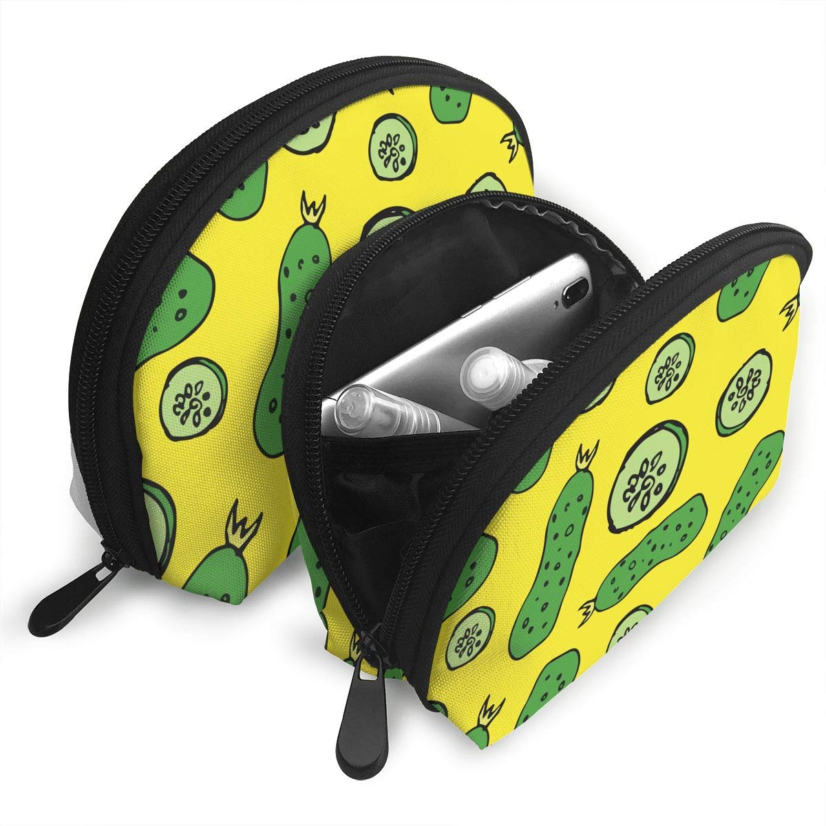 Amazon.com: Green Cucumber 2 Piece Set Cosmetic Beauty Bag Travel Handy Organizer Pouch Clutch Makeup Pouch Set: Home & Kitchen
