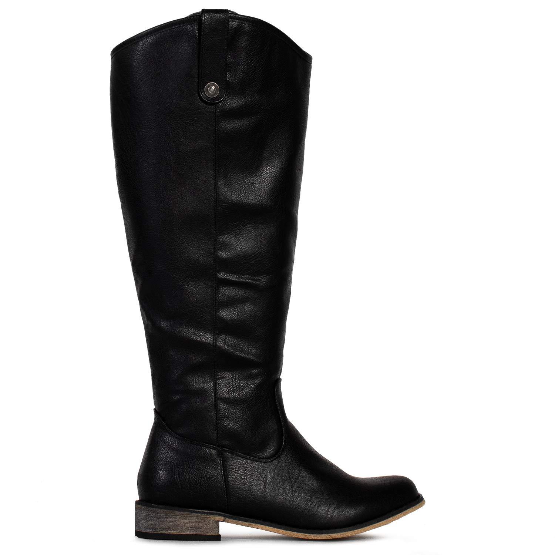 50ca7cc7e1a84 Amazon.com | RF ROOM OF FASHION Wide Calf Lady's Buckle Knee High Riding  Boots Hidden Pocket | Knee-High