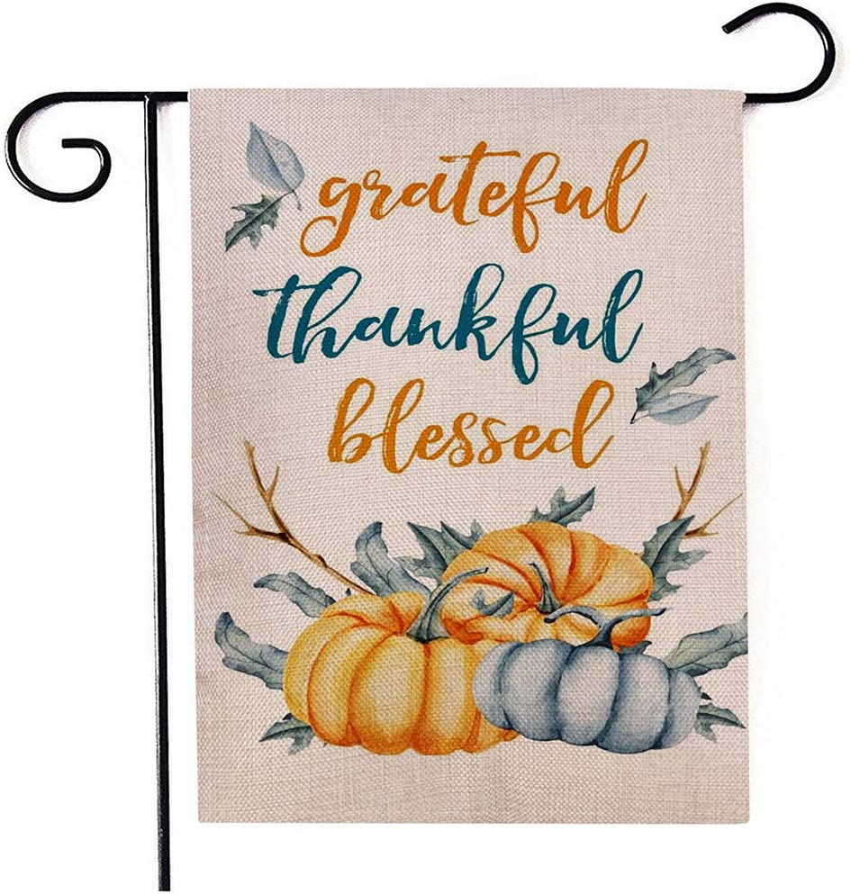 Season Garden Flags-Grateful Thankful Blessed,2020 Newest Vertical Double Sided Maple Leaf Leaves Pumpkins Garden Flag-Decorations for Outdoor Yard