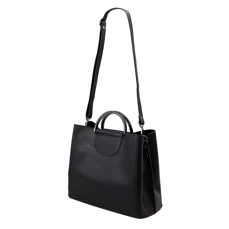 SH läder axelväska i äkta läder handväska vanärvat läder 34 x 26 cm Carina G798 svart