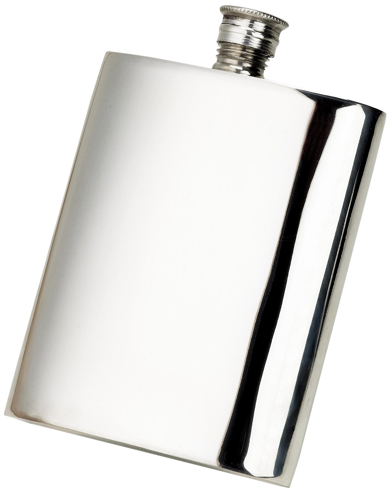 Budd Leather Pewter Plain Flask, 8-Ounce, Silver