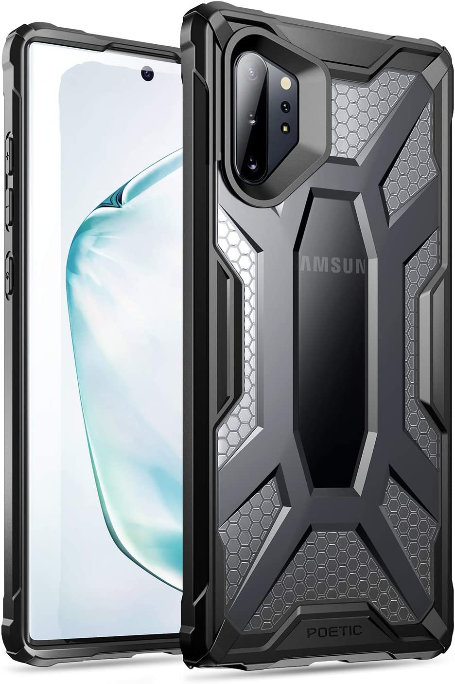 Poetic Galaxy Note 10 Plus Case, Premium Hybrid Protective Clear Bumper Cover, Rugged Lightweight, Military Grade Drop Tested, Affinity, for Samsung Galaxy Note 10+ Plus 5G, Frost Clear/Black