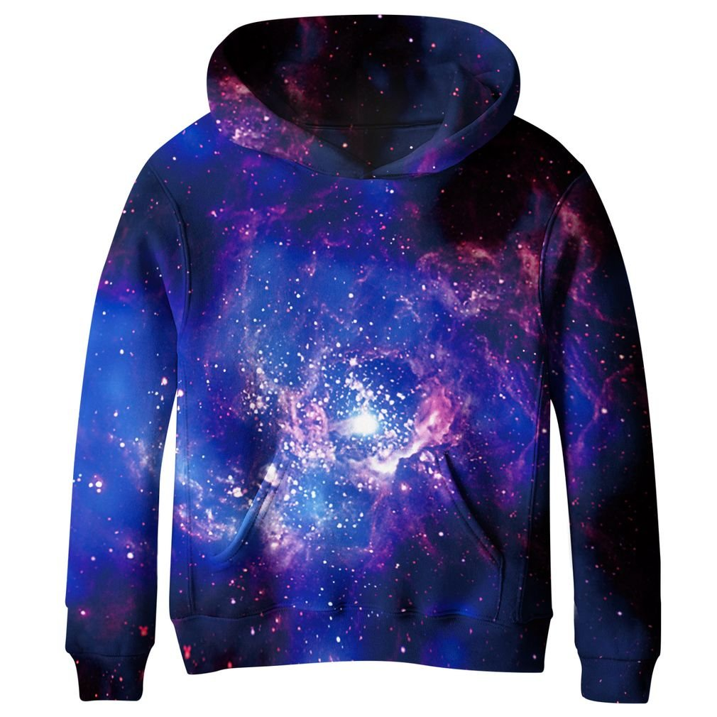 SAYM Boys'Teen Youth Galaxy Fleece Sweatshirts Pockets Cotton Hoodies 4-16Y NO3 M SSE125-3A-M