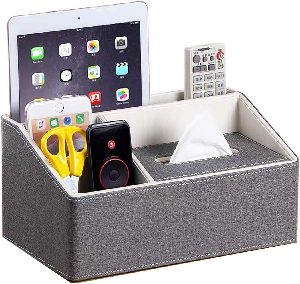 UnionBasic Multifunctional PU Leather Office Desk Organizer Holder Storage Tissue Box (Linen Grey)