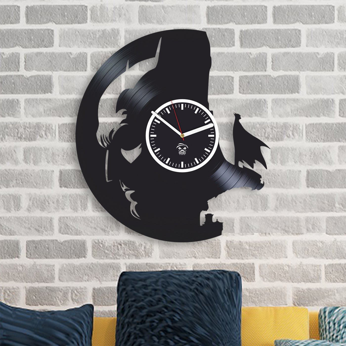 Kovides Batman Face Knightfall Returns Super Hero Vinyl Record Best Gift for Him Vinyl Wall Clock Home Decor, Decoration Living Room Inspirational Comics Marvel Movie, Silent Mechanism, Wall Sticker