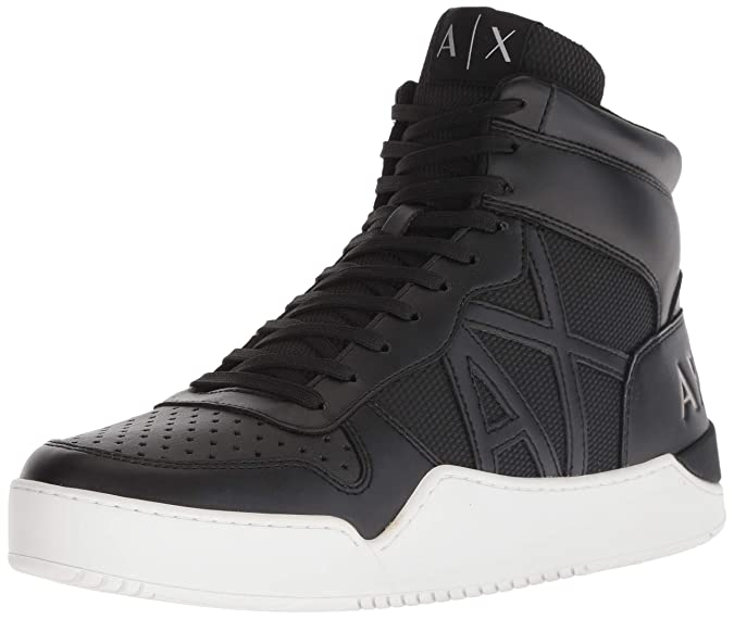 A|X Armani Exchange Men's High Top Lace Up Sneaker, Black 00002, 7 M US