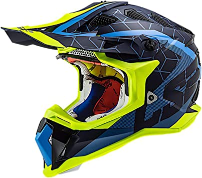 LS2 Helmets Subverter Straight Full Face MX Helmet (Blue/HiViz - Small)